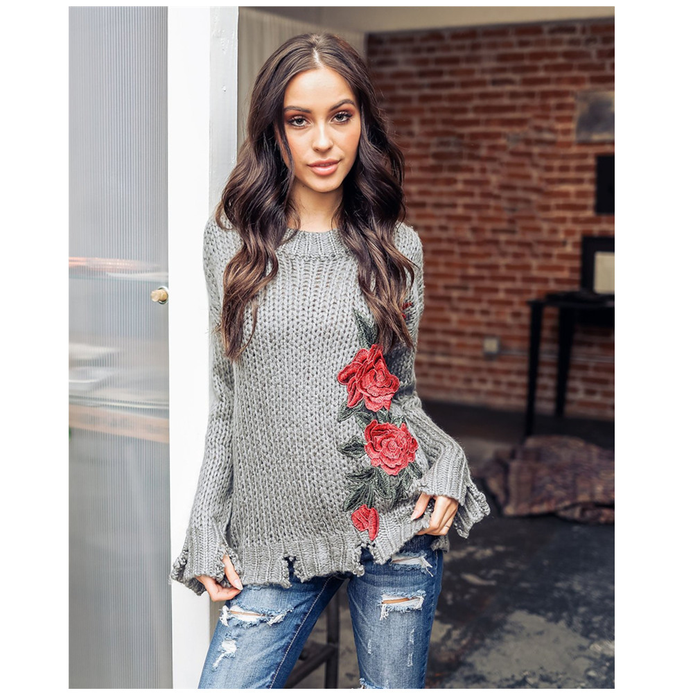 Fall Fashion New 2019 Sweater Women Floral Embroidery Ripped Plus