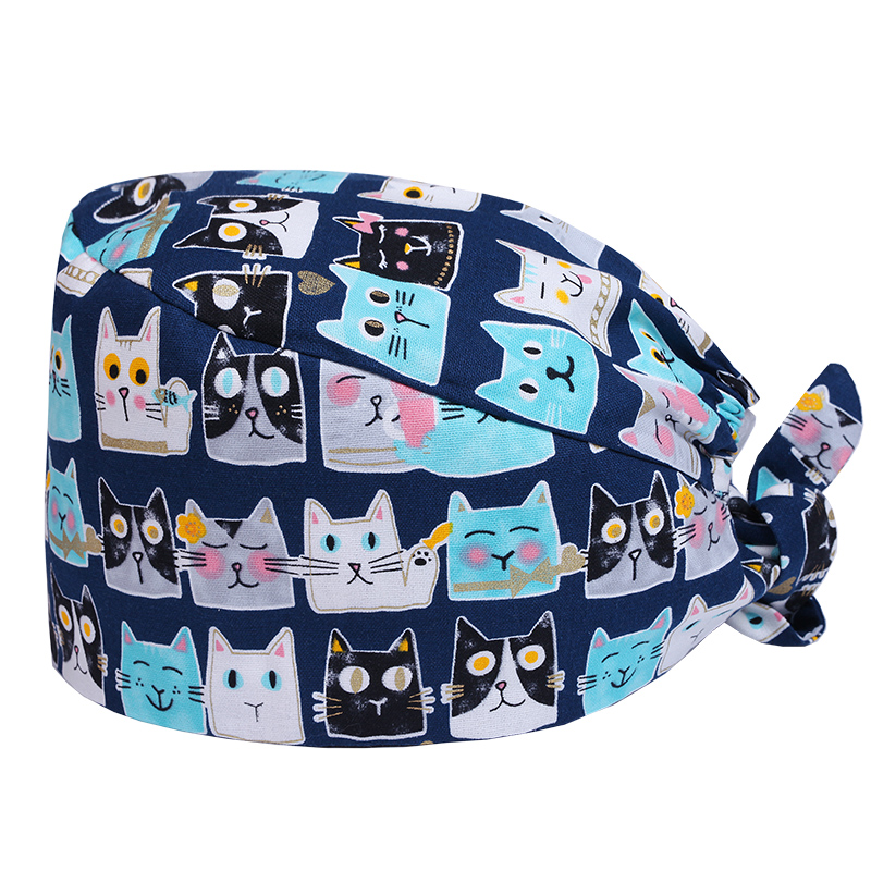 Cats Prints Designer Surgical Caps Medical Operation Theater Cap Pattern Elastic Surgeon Hat OT 100% Cotton With Sweatband