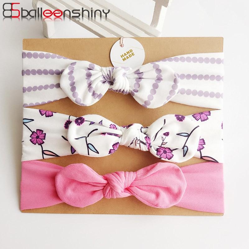 BalleenShiny 3PCS Baby Girls Bowknot Headband Fashion Princess Hair Accessories Newborn Beauty Headdress Elastic Flower Hairband