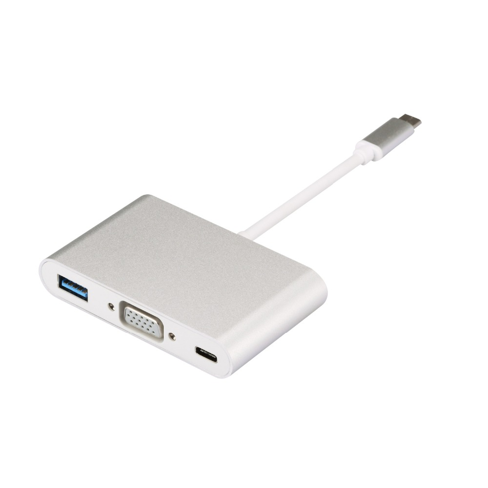 USB C Type C female USB Female Data Charger to VGA USB Multiport Adapter 3 in
