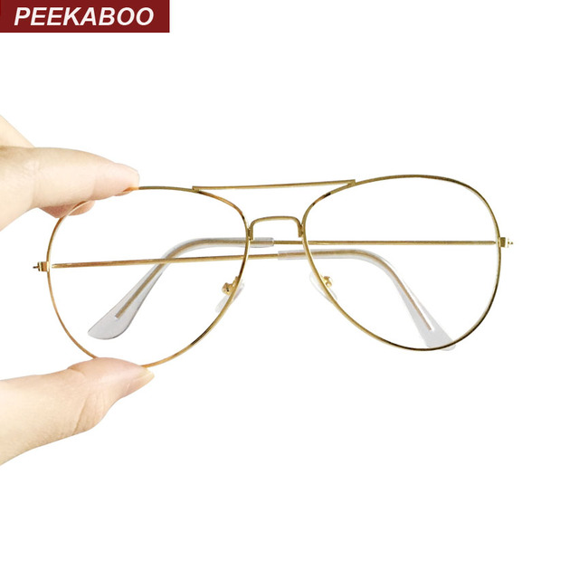 Peekaboo New gold rimmed glasses frame men brand flat top metal ...