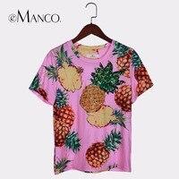 EManco 2017 Summer Beach Bohemia T Shirts For Women Casual Short Chiffon O Neck Top Tees