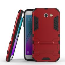 MuTouNiao Luxury Case For Samsung Galaxy J3 Prime Red Armor 2 in 1 PC and TPU Soft Silicon Stand Back Case Cover J3Prime Case