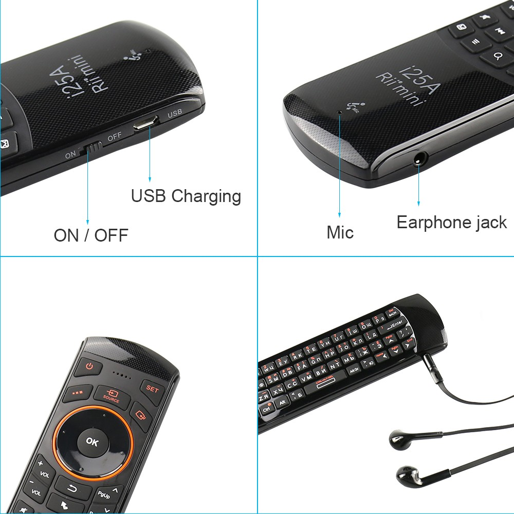 Image 5 - Rii i25A 2.4G Mini keyboard Air mouse remote control with  Earphone Jack For Smart TV Android TV Box Fire TVKeyboards   -