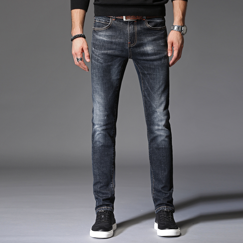Mens Jeans High Quality Straight Comfortable Denim Trousers Male Black Slim Fit Elasticity Cotton Full Length Pant Plus Size 38