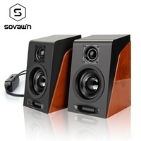 Computer Laptop Desktop Hi Fi Speaker Wood Texture Subwoofer Box Bass Sound 2Pcs 3 W 3