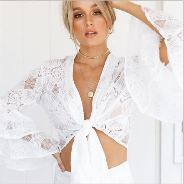 ed23bdc56c Sexy V Neck Lace Crop Tops Bow Tie Summer Shirts Women Blouse Long Flare  Sleeve Hollow White Beach Swim Short Ladies Cover Ups