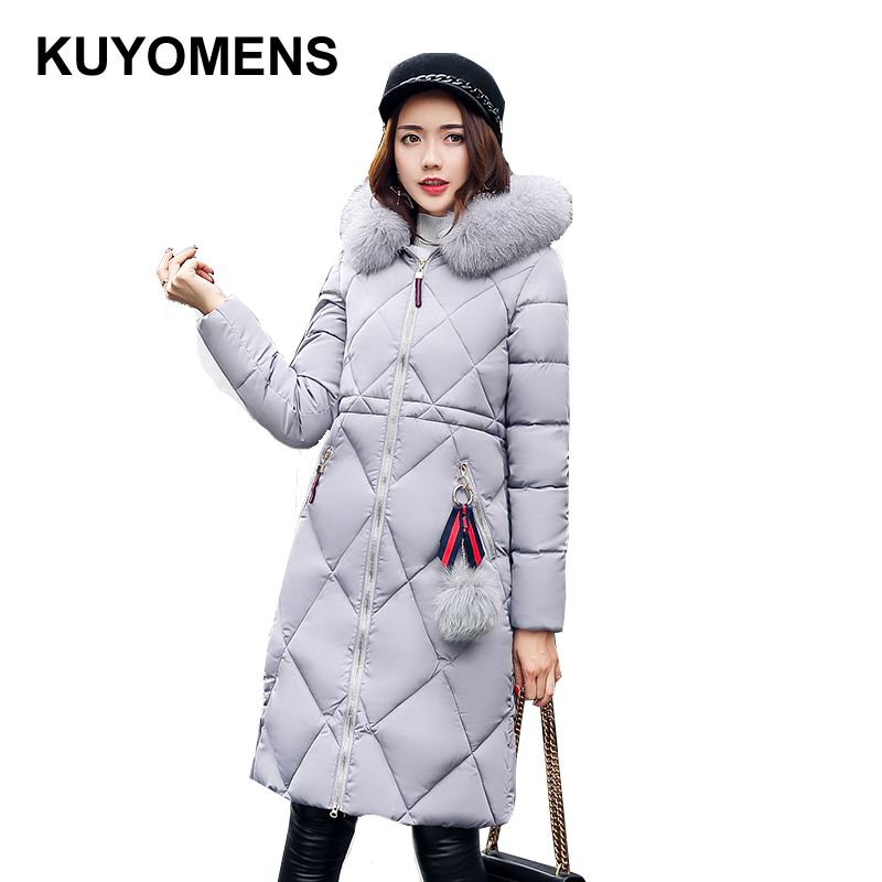 KUYOMENS 2017 New Winter Coat Women Slim Waist Long Jacket Female Coats Fur Collar Warm Parka Fashion Cotton Coat Brand Jackets slim winter jackets women belt long down coat 2016 new fashion women s winter coat fur collar coats female thick warm parka y269