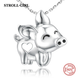 Strollgirl Unique Charms gorgeous Pig flying Pendant Necklace New Arrival 925 Sterling Silver jewelry Animal for Women Girl gift