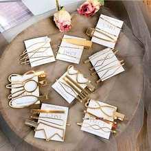 Fashion Hair jewelry Clip set for Women Gold Metal grips Korean style Design Snap Barrette Stick