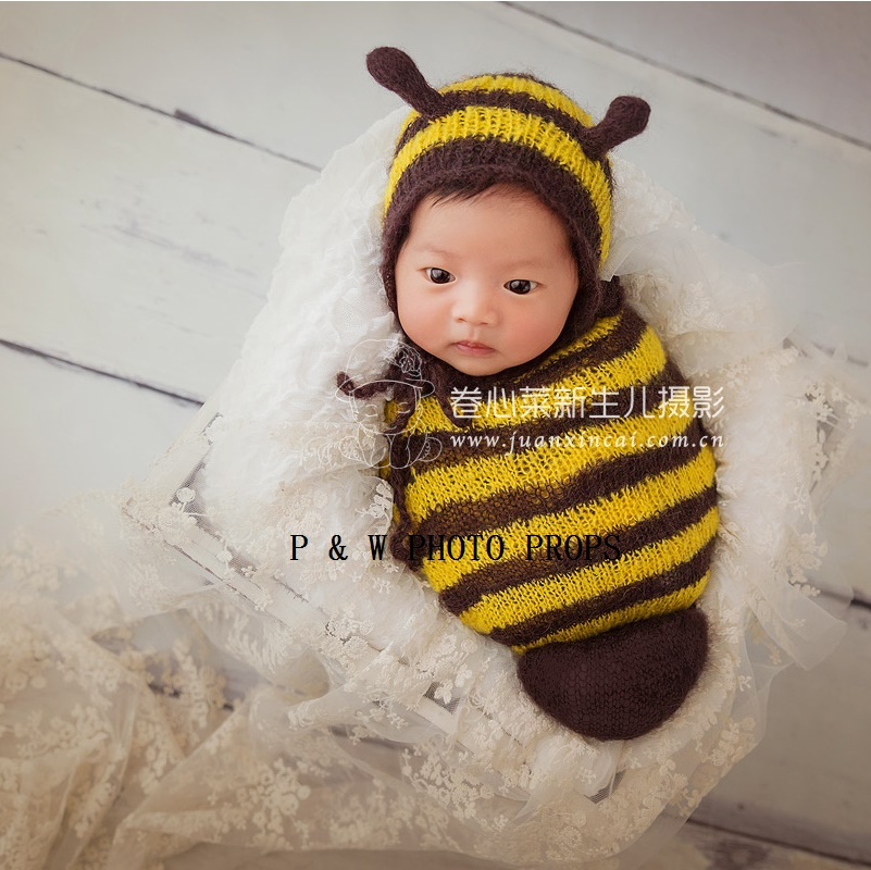 Handmade Knit Newborn Baby Hat And Sleep Sack Baby Outfit