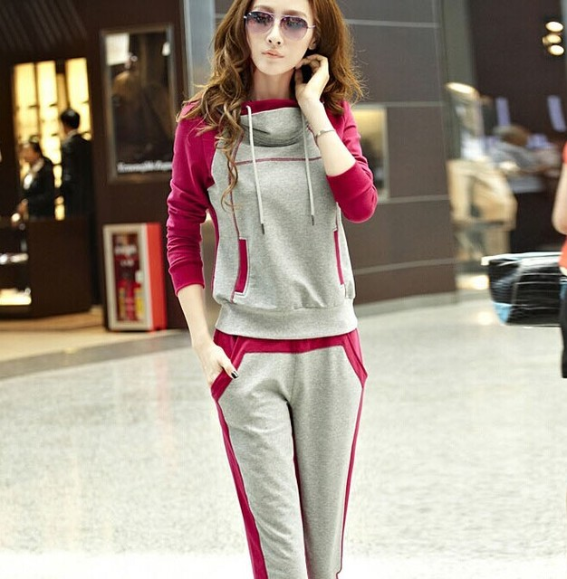 Women Sporting Suit 2017 Runway Womens Fashion Spring 2 Two Piece Set Womens Hoodies And women Joggings Pants Chandal Blue Pink