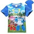 2015 новое прибытие мальчики и девочки футболка ROBOCAR POLI Мультфильм лета Малышей Футболка Дети Бесплатная Доставка