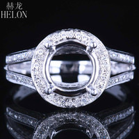 HELON 7.5 8.5mm Round Solid 14k (AU585) Pave 0.5CT Real Halo Natural Diamonds Engagement Wedding Semi Mount Ring Jewelry Gift