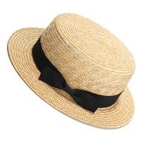 Women Summer Beach Sun Hats 2017 Brand New Flat Top Straw Hat Men Boater Hats Bone