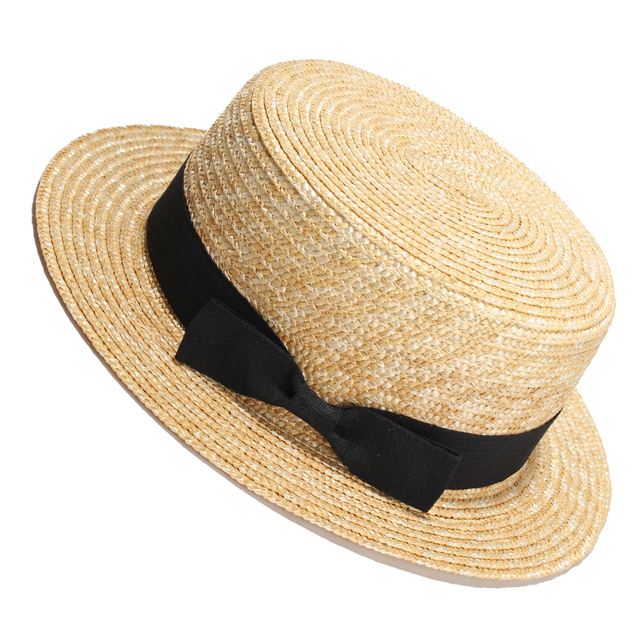 Women Summer Beach Sun hats 2017 Brand New Flat Top Straw Hat Men Boater  Hats Bone 065d16c03b61