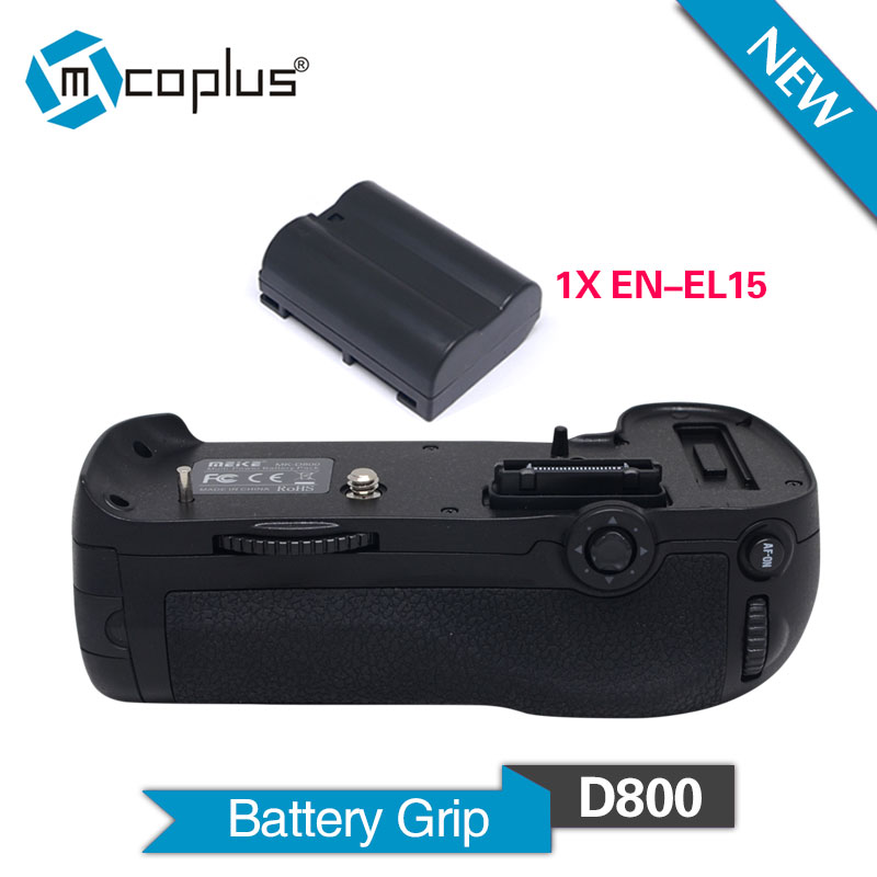 Mcoplus BG-D800 Vertical Battery Holder Grip with 1pcs EN-EL15 Battery for Nikon DSLR D800 D800E Camera as MB-D12 Meike MK-D800 dste mb d12 multi power battery grip for nikon d800 d800e d810 camera black