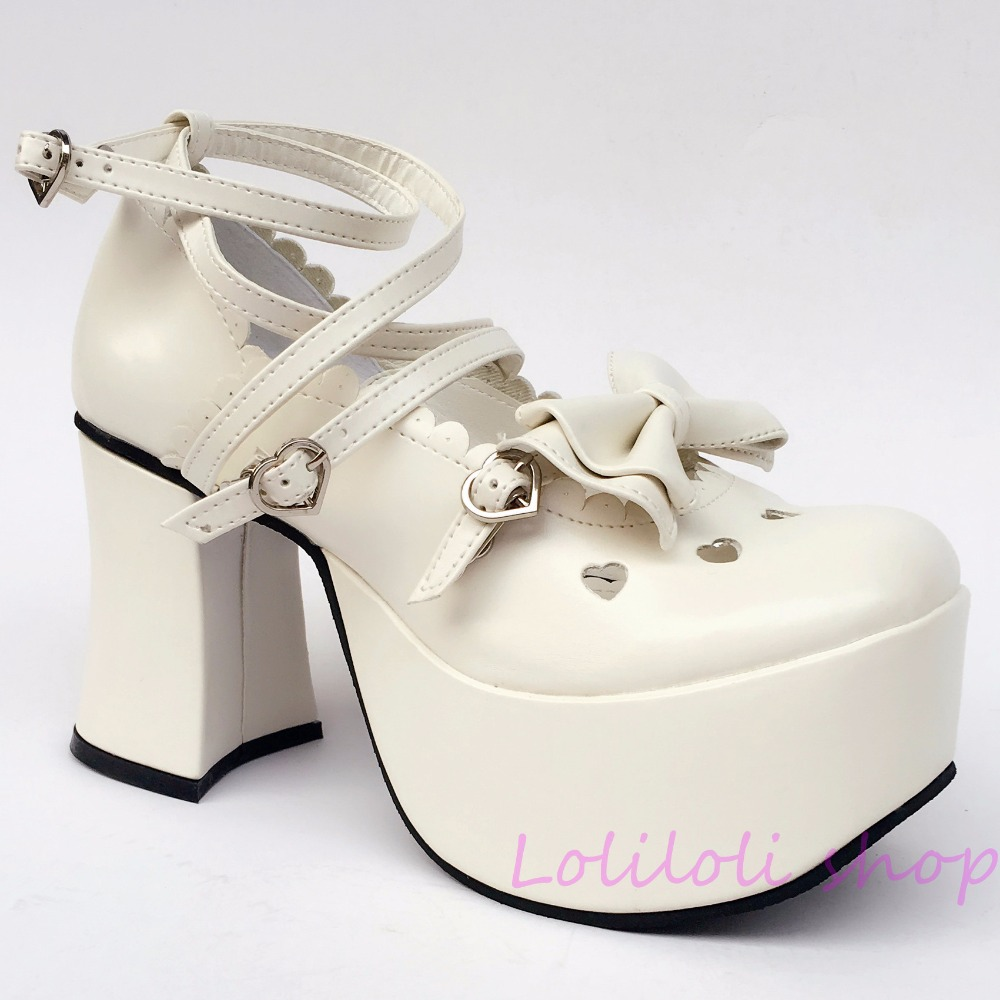 Princess sweet lolita shoes Lolita style Japanese design customized special shaped white matte bow tie high heel shoes 2022 цена