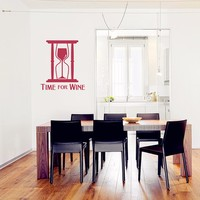 2016 New Hot Time For Wine Quote Decals Wine And Hourglass Wall Art Decor Gift For