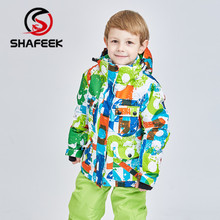SHAFEEK/детский лыжный костюм; детский брендовый ветрозащитный водонепроницаемый теплый зимний лыжный костюм для мальчиков; детская куртка для катания на лыжах и сноуборде