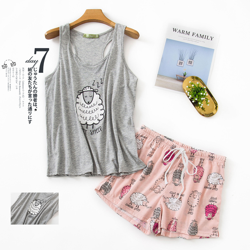 Summer Women's Pajama Sets Sleeveless Grey Pink Color With Cute Sheeps Printed Round Neck Cotton Causal Pajama Sets Hot Selling