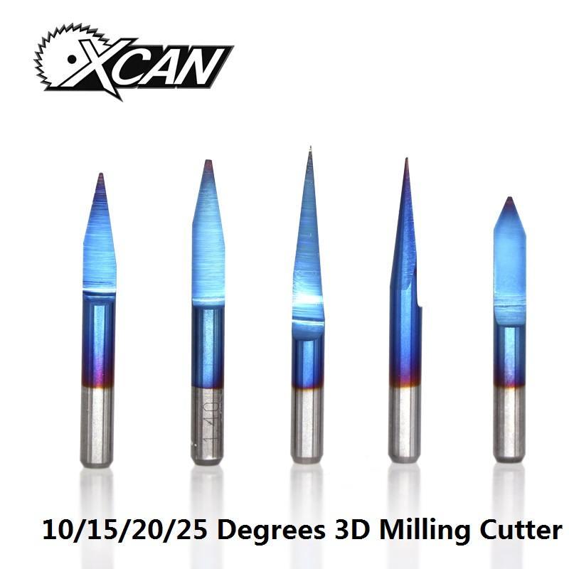 XCAN 10pcs 3.175mm Blue Coating PCB 3D Milling Cutter 10/15/20/25 Degrees Tungsten Carbide V Shape PCB Engraving Bit CNC Router