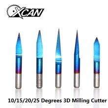XCAN 10 шт. 3,175 мм Покрытие Синего цвета PCB 3D фреза 10/15/20/25 градусов Вольфрам карбида V Форма PCB гравировальное лезвие фрезерный станок с ЧПУ