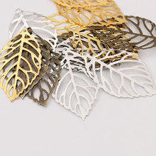50pcs Craft Hollow Leaves Pendant Jewelry Accessories Gold Charm Filigree Making Plated Vintage for Hair Comb Hot New