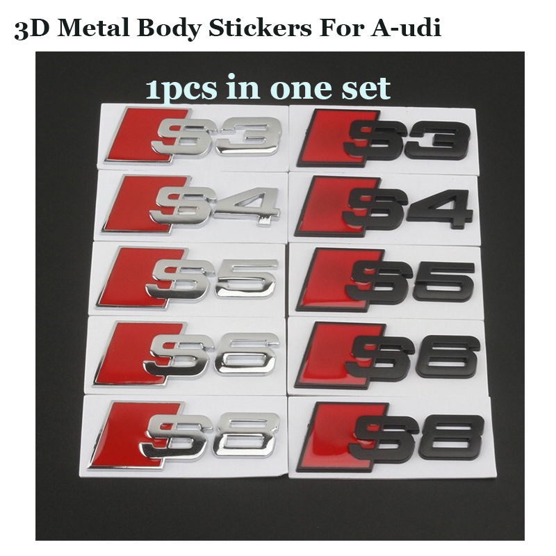 Good quality for Audi Auto emblem label S3 S4 S5 S6 S8 Car Emblem Body Stickers Badge Metal Decals 1pcs/lot New -styling