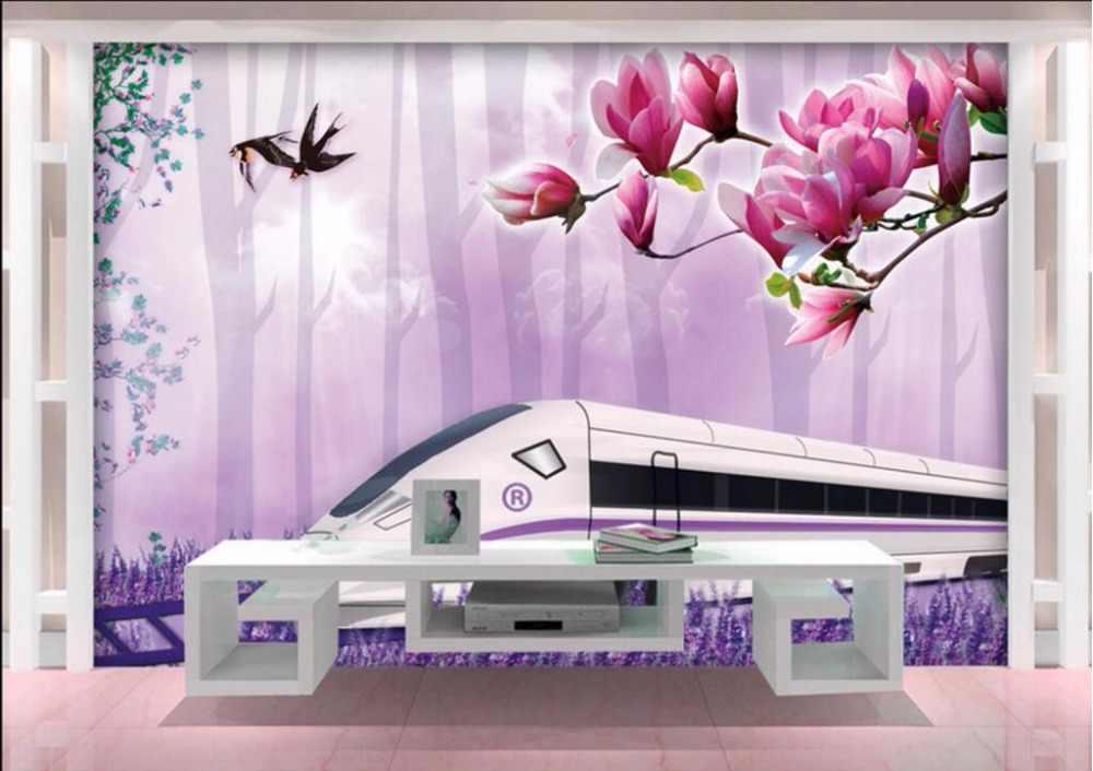 Фотообои на заказ 3d обои для гостиной поезд трек цветочный Декор для дома Живопись 3d настенные фрески обои для стен 3 d