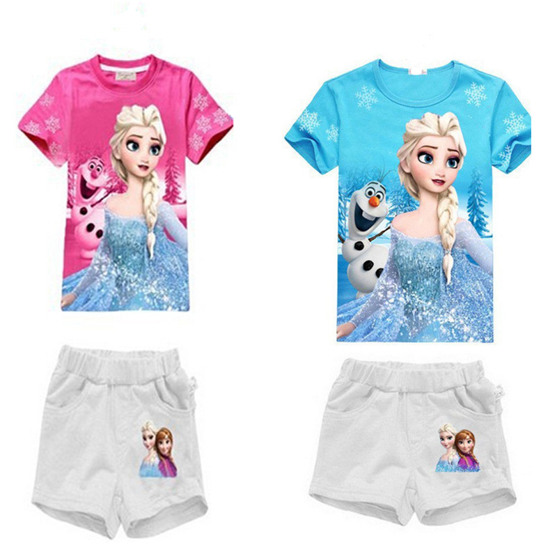 2016 Anna Elsa Pattern Girls Set Printed T-Shirt+shorts Princess Set Fashion Summer Girl Clothing Childrens clothes ropa ninos