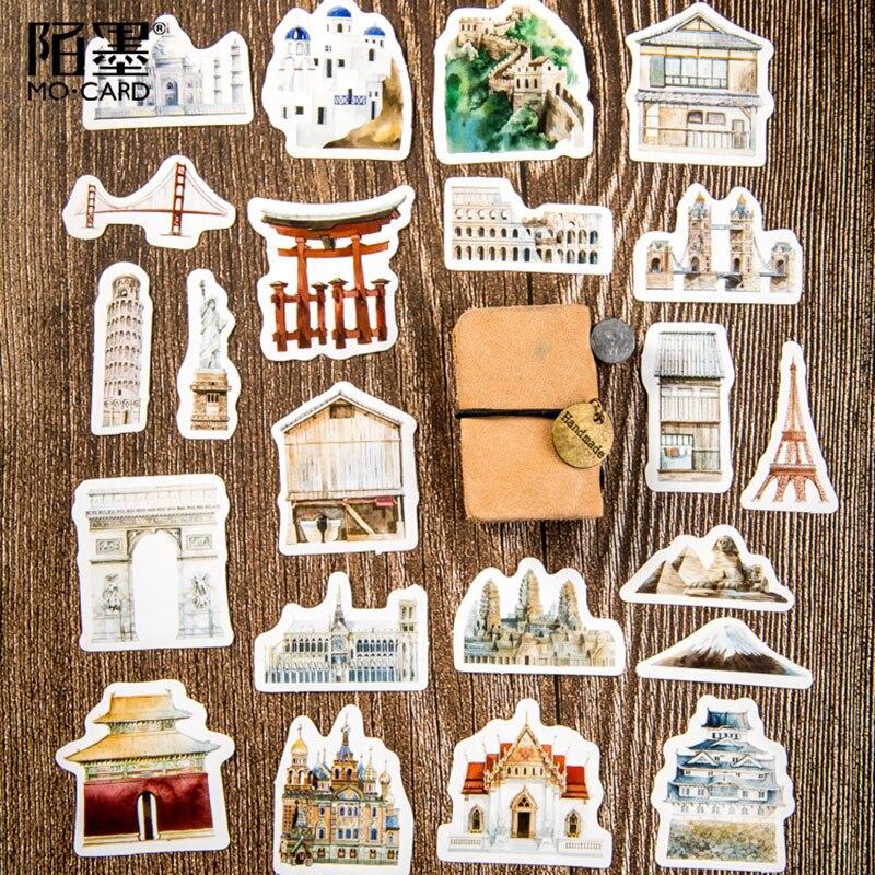 Купить с кэшбэком 45Pcs/box World architecture history Decoration Sticker DIY Scrapbook Notebook Album Sticker Stationery Kawaii Girl Stickers