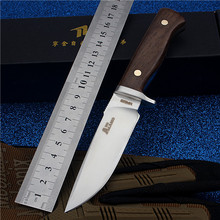 Navajas Ats34 Steel Outdoor Small Camping Straight Self-defense Wilderness Survival With High Hardness To The Mountain Knife