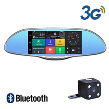 цена на 7 IPS Touch 3G WCDMA Car DVR Camera Video Recorder Android 5.0 GPS Navi Bluetooth FM WIFI Dual Lens Rearview Mirror Camcorder