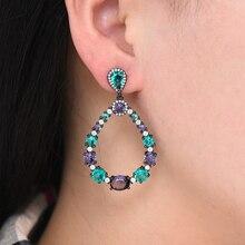 SisCathy Brand Luxury CZ Crystal Dangle Drop Earrings for Women Girls Bride Wedding Jewelry Ear Earring Accessories