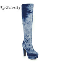 KEBEIORITY Fashion Blue Denim Boots Women 2017 High Heels Knee High Boots Platform Shoes Woman Riding Boots Plus Size 33-48