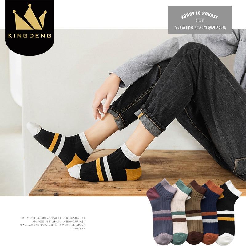 KingDeng Splice Socks Harajuku New Men Breathable Cool Stripe Sock Summer Splice Ankle Non-Slip Thin Section Fashion Simple 1