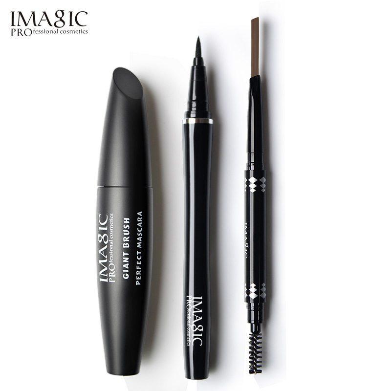 IMAGIC Profession 3Pcs Easy Makeup Pretty Eyes Mascara Black Colors Eyeliner and Automatic Cosmetics Eyebrow все цены