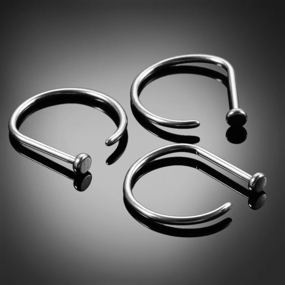 1 шт. G23 титановые 20 г носовые кольца D форма носоупоры пирсинг носа ноздри пирсинг нариз тела ювелирные изделия-пирсинг