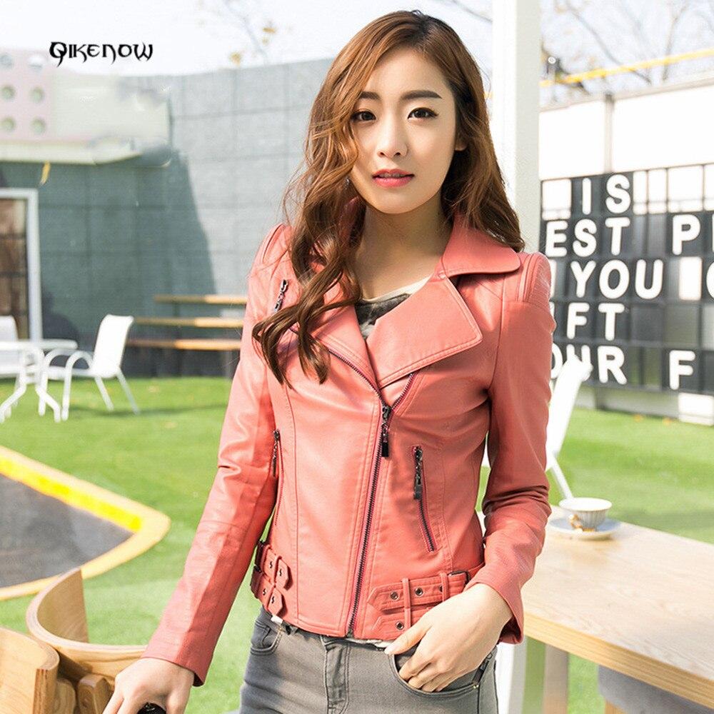 Original Qikenow DPY-012 Leather Jacket Spliced Zippers Slim Autumn PU Short Paragraph Lapel leather jacket women Deri Ceket 4XL