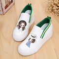 Height Increase Canvas Shoes Students Hand Painted Cartoon Shoes Girl Lazy Pedal Loafer Shoes Women Vintage Canvas Shoes 16Style