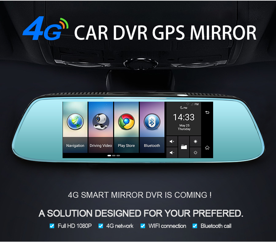 "Junsun 8"" 4G Newest Mirror Car DVR Camera Android 5.1 with GPS DVRs Automobile Video Recorder Rearview Mirror Camera Dash Cam 3"