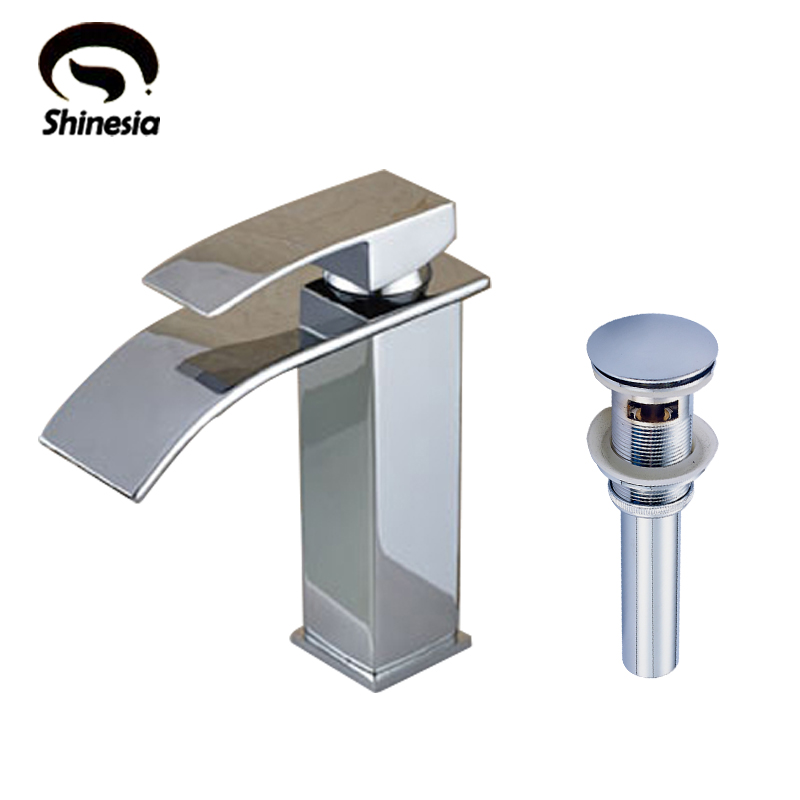 Chrome Finish Solid Brass Bathroom Waterfall Basin Faucet Single Handle Mixer Tap with Sink Drain waterfall spout basin sink faucet golden finish bathroom mixer tap solid brass single handle with hole cover plate