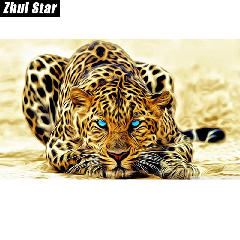 "Hot 5D DIY Diamantmaleri ""Leopard"" Broderi Full Square Diamond Cross Stitch Rhinestone Mosaic Maleri Hjemmeinnredningsgave"