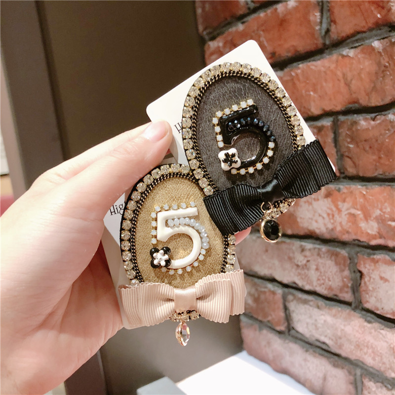 CX-Shirling Korean Trendy Antique Style Brooches Pin Jewelry For Women Crystal Letter 5 Female