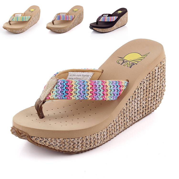 Straw Wedges Sandals Waterproof High Heeled Flip Flops Summer Sandals Beach Female Muffin Slippers Casual