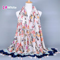 2017 Brand Colorful Blue White Floral Printed Cotton Tassels Soft Scarves Fashion Women Long Handmade Shawl Pashmina A019