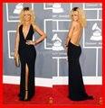 Preto Halter Slit Sexy backless vestidos sem mangas sereia elegante vestido de Rihanna celebridade CC003