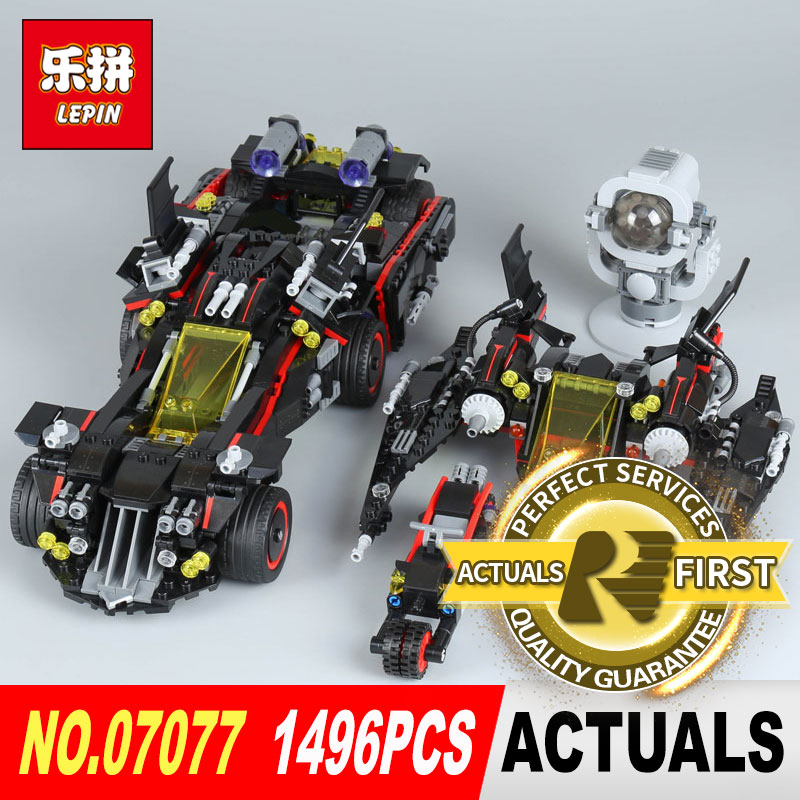 Lepin 07077 Genuine Batman The Movie Series 1496Pcs The Ultimate Batmobile Set Educational Building Blocks Bricks Model 70917 07077 1496pcs batman movie series the ultimate batmobile set diy toys educational building blocks compatible with 70917 lepin