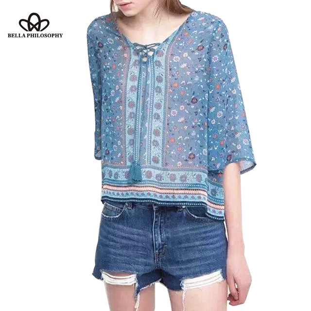 2016 summer autumn New vintage ethnic blue floral mix print causal blouse shirt with neck tassels